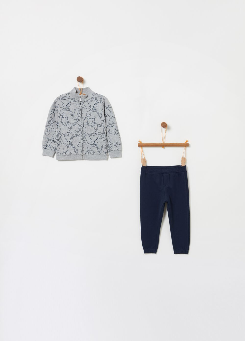 Jogging set with full-zip top and trousers with print