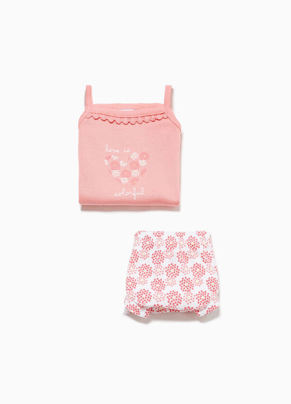 100% cotton top and briefs set with pattern