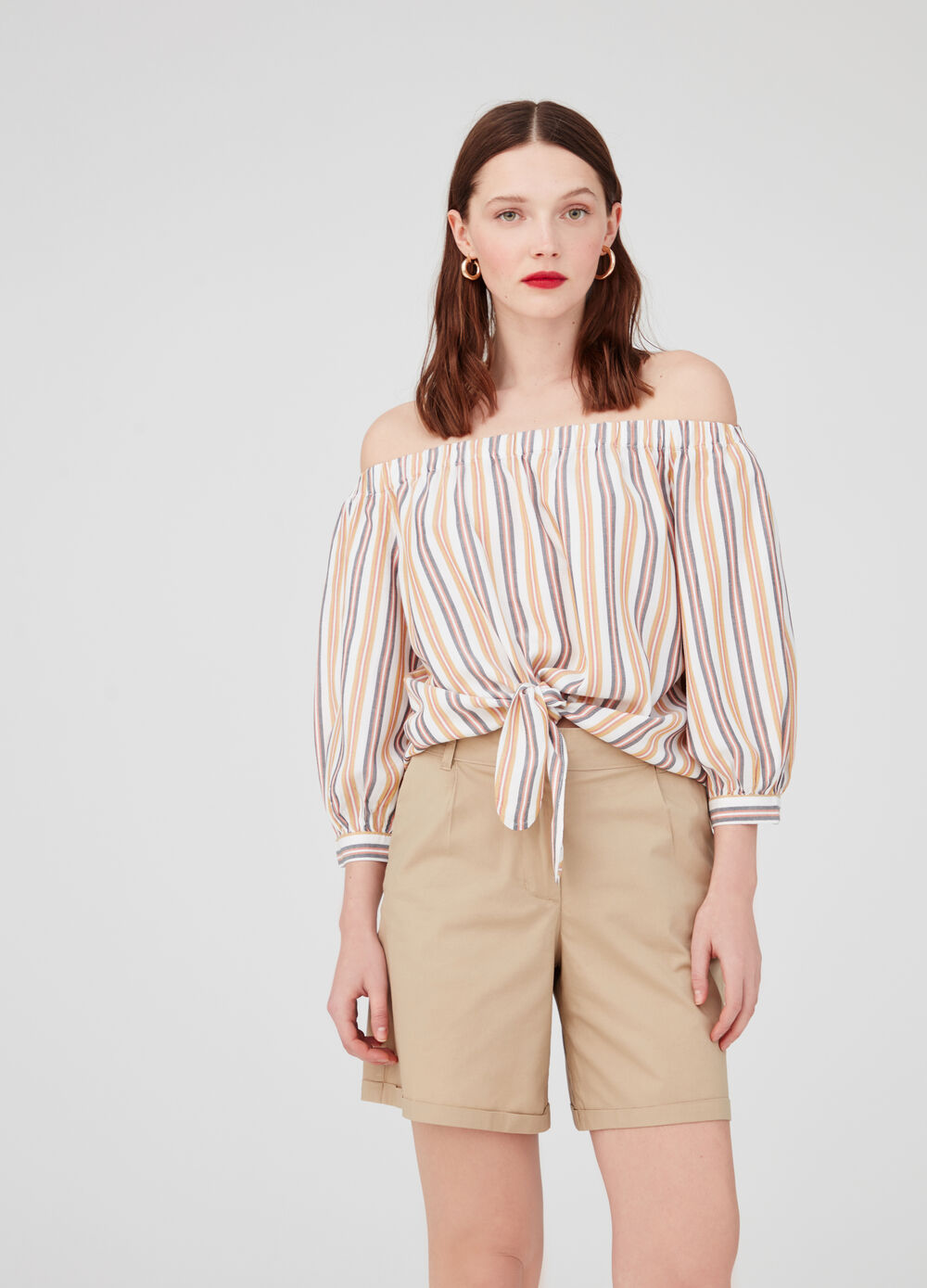 Blouse with drop shoulder and striped pattern