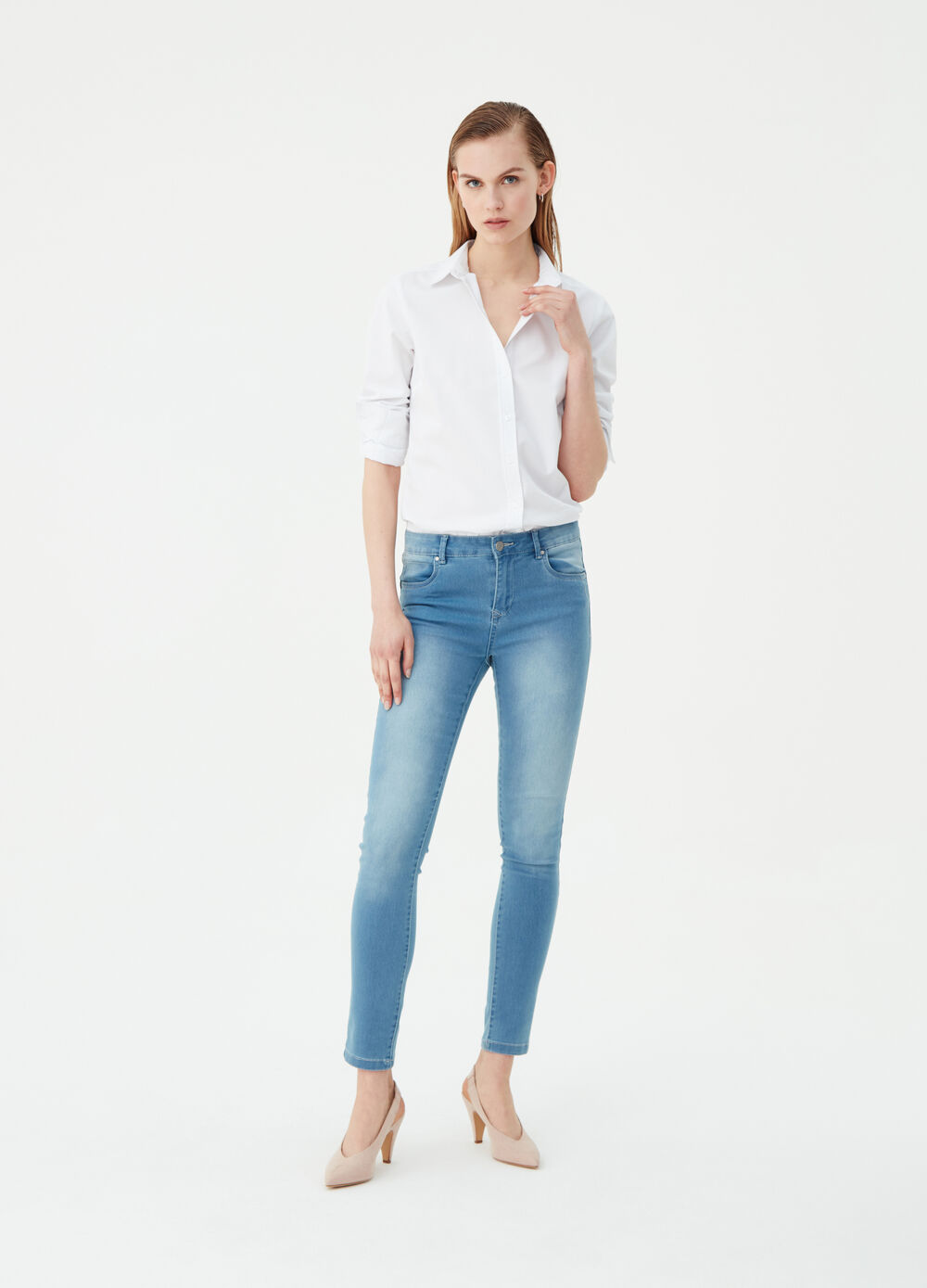 Slim-fit satin-effect push-up jeans