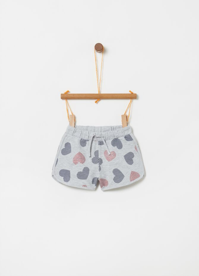 Shorts with elasticated waist and hearts print