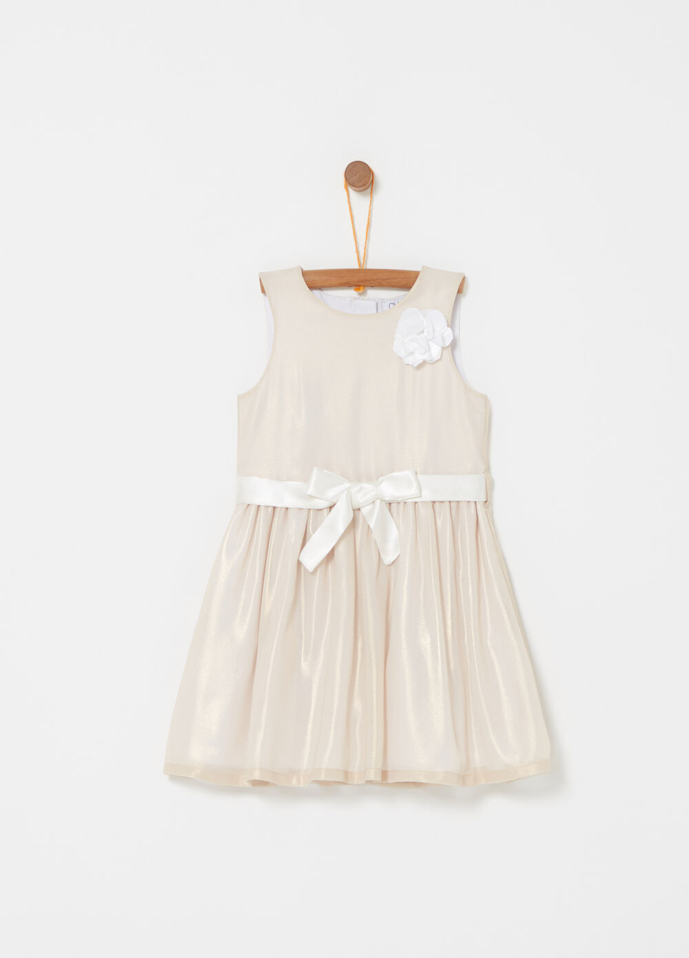 Dress with rose and knotted belt