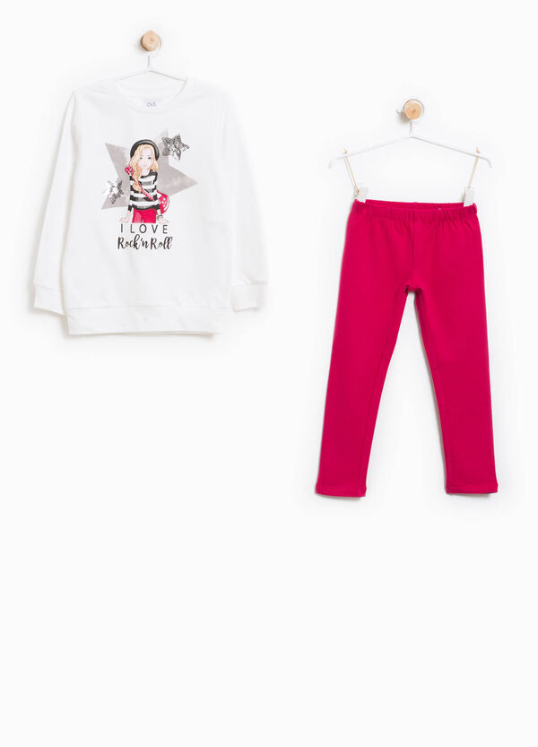 Tracksuit in cotton with sequins and print | OVS
