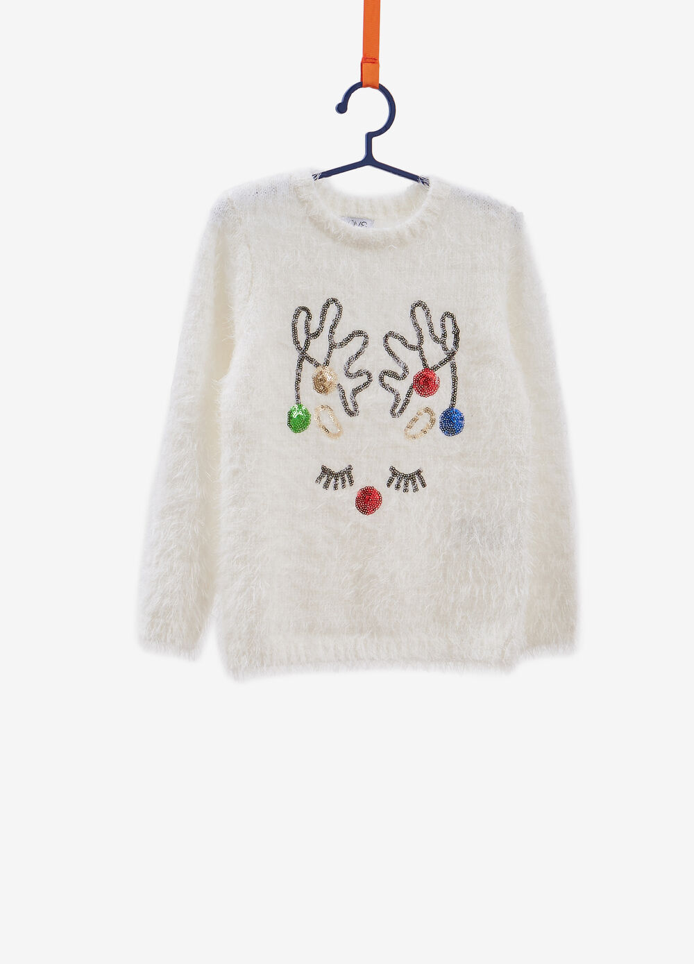 Christmas sweater with reindeer sequins