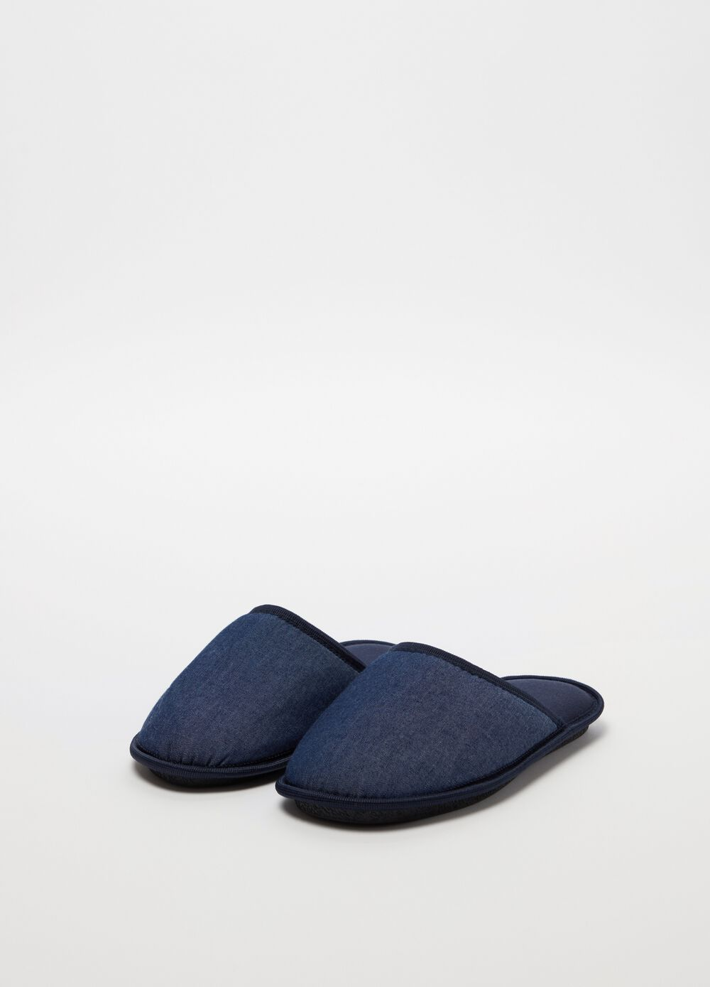 Denim-effect slippers