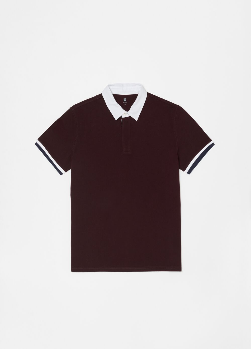 Polo shirt in 100% cotton with contrasting collar