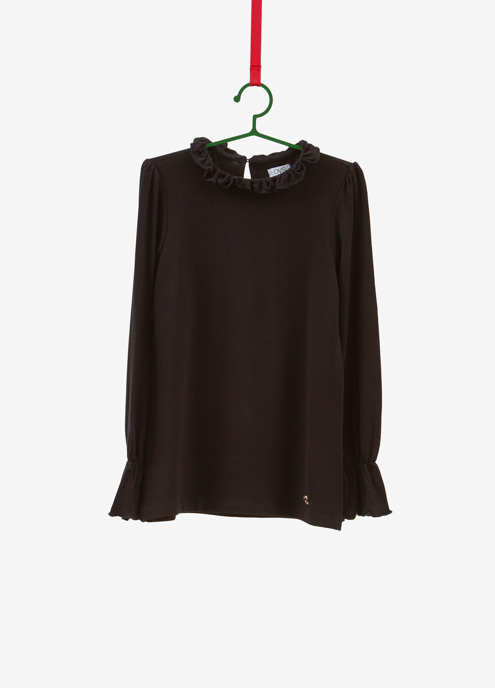 Stretch viscose T-shirt with flounce