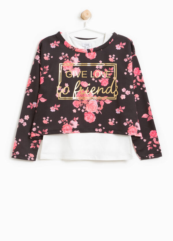 Crop floral sweatshirt with printed lettering | OVS