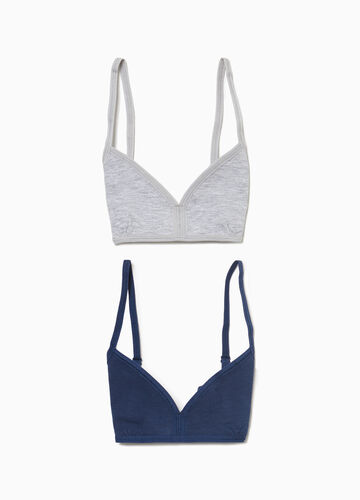 Two-pack stretch cotton bandeau bras
