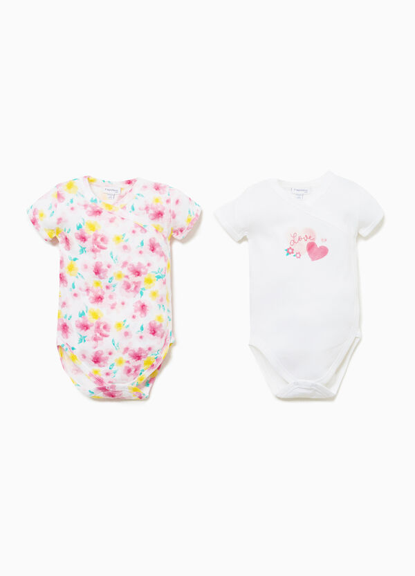 Two-pair pack cotton bodysuits with floral pattern