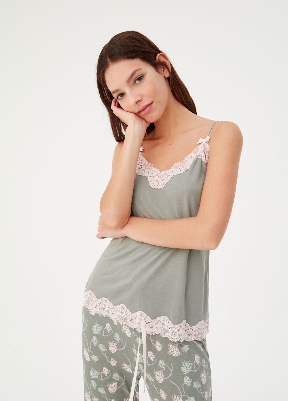 Jersey pyjama top with lace spaghetti straps