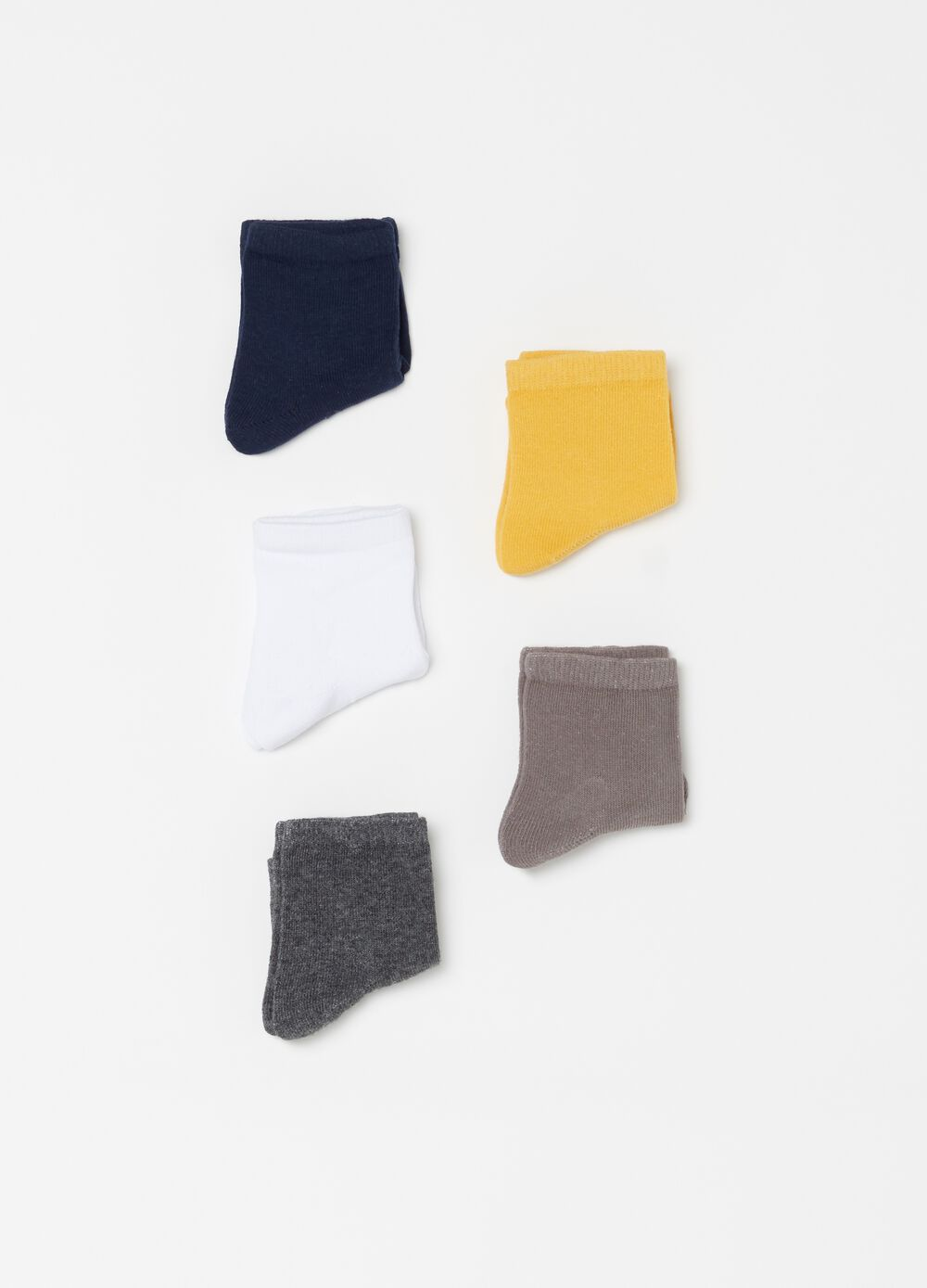 Five-pack stretch short socks with ribbing