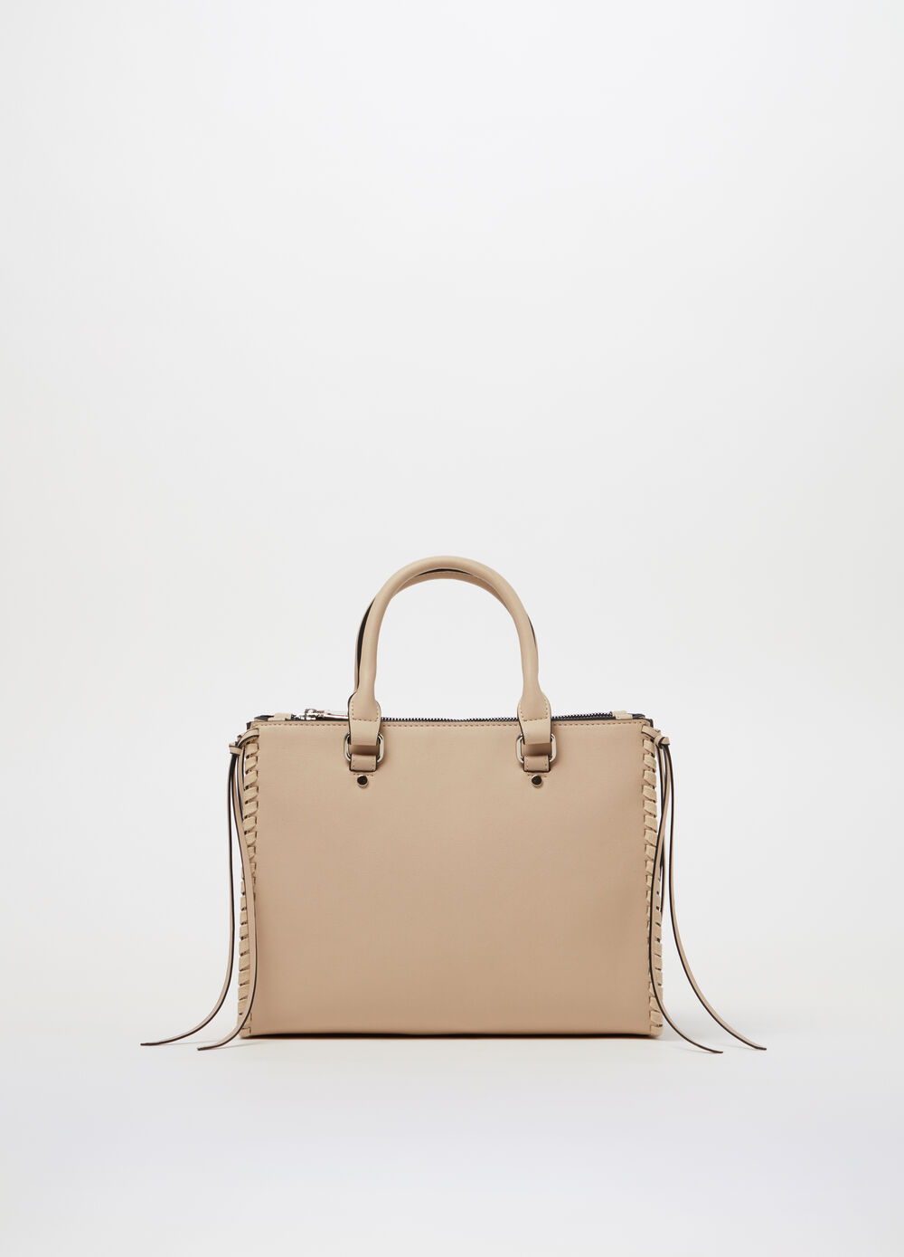 Handbag with lace-up details on the sides