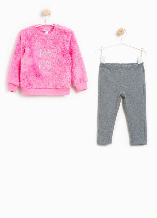 Fur tracksuit with lettering embroidery | OVS