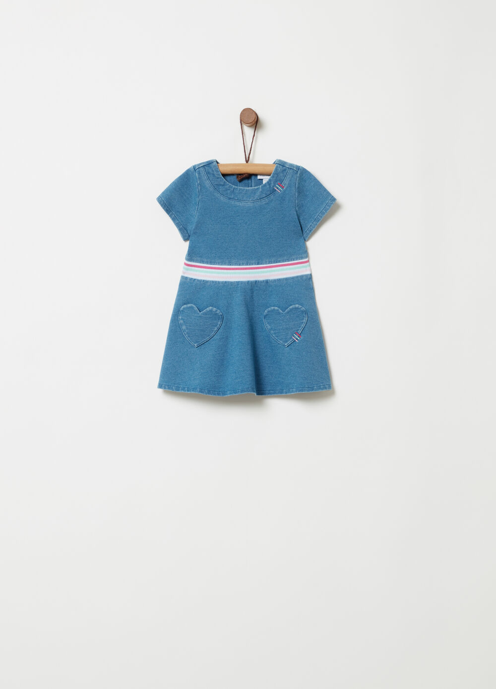 Denim-effect fleece dress with ribbing