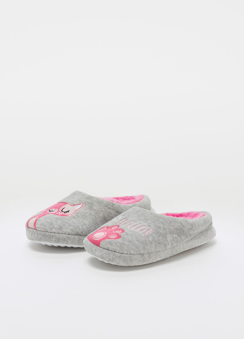 Mélange fabric slippers with embroidery