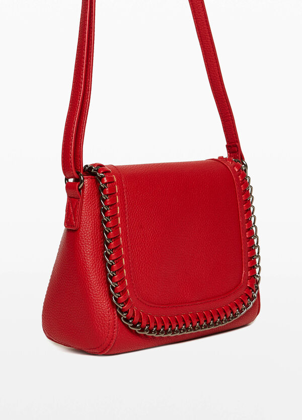 Shoulder bag with chain trim