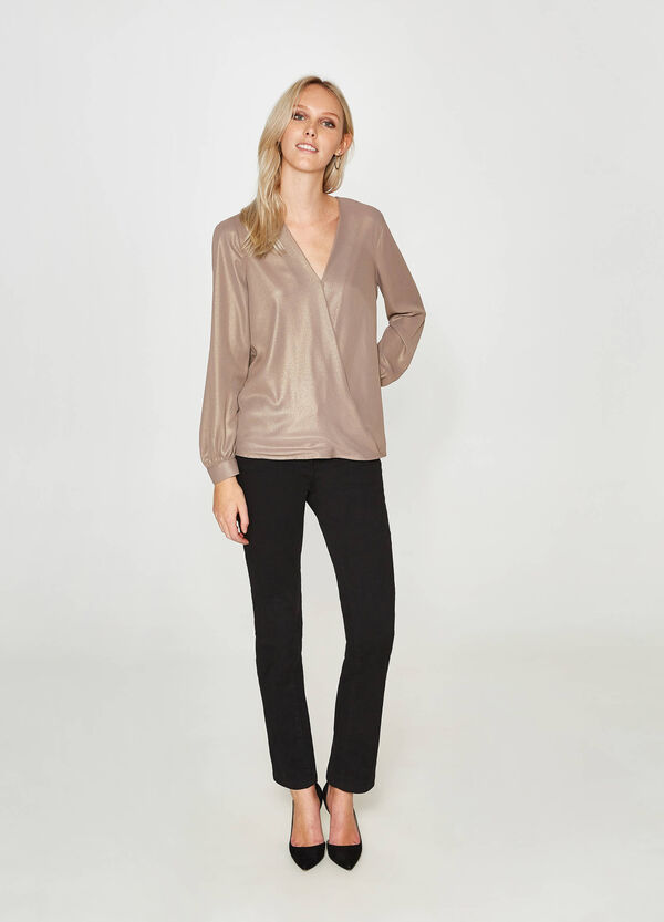 Crossover blouse with opening | OVS