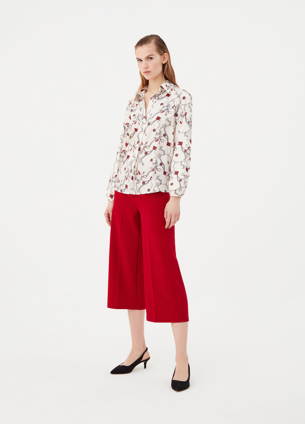 Culotte trousers in comfort fabric
