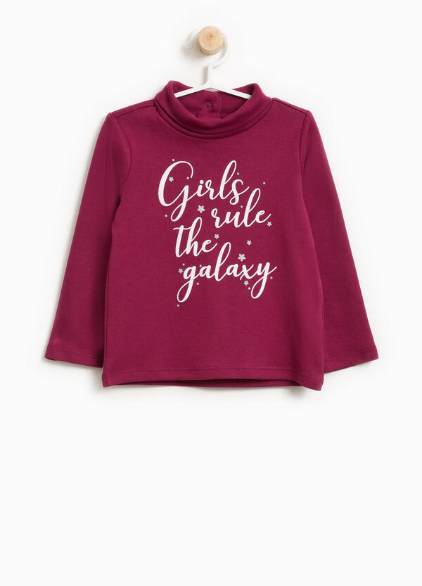 Turtleneck jumper in 100% cotton with printed lettering | OVS