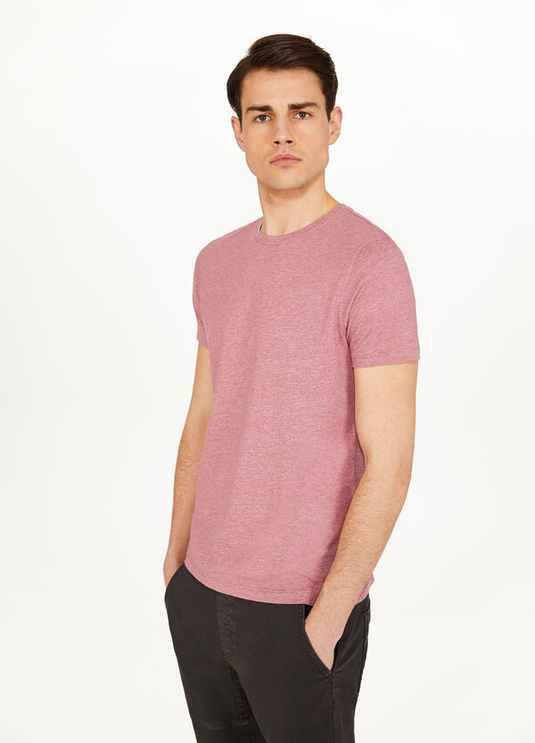 Linen and cotton blend mélange T-shirt