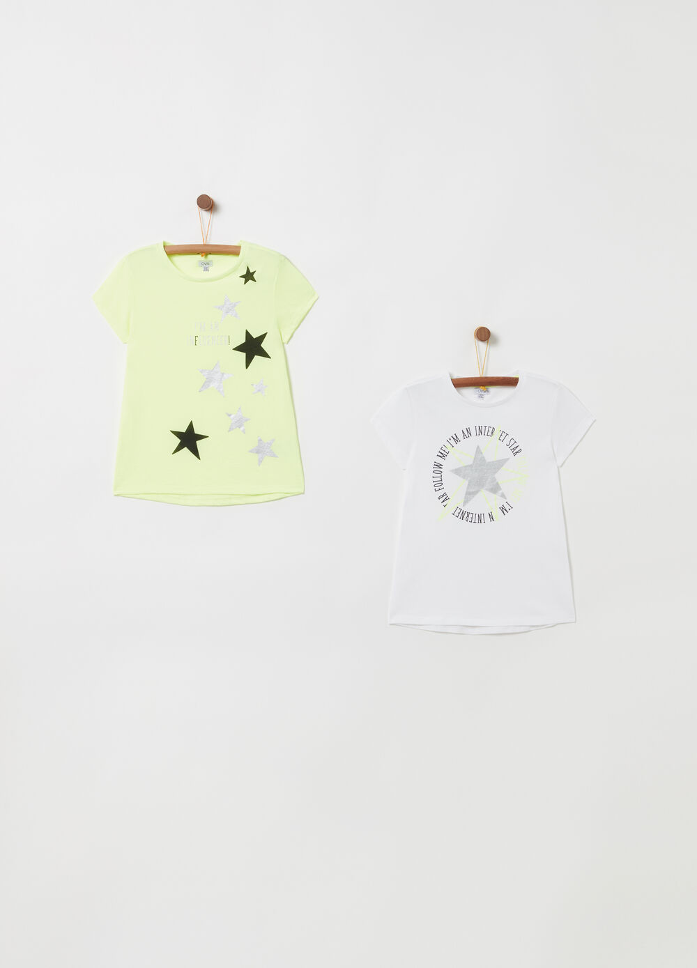 Two-pack lightweight jersey T-shirts with glitter print