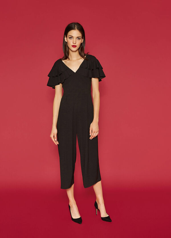 Stretch playsuit with flounces | OVS