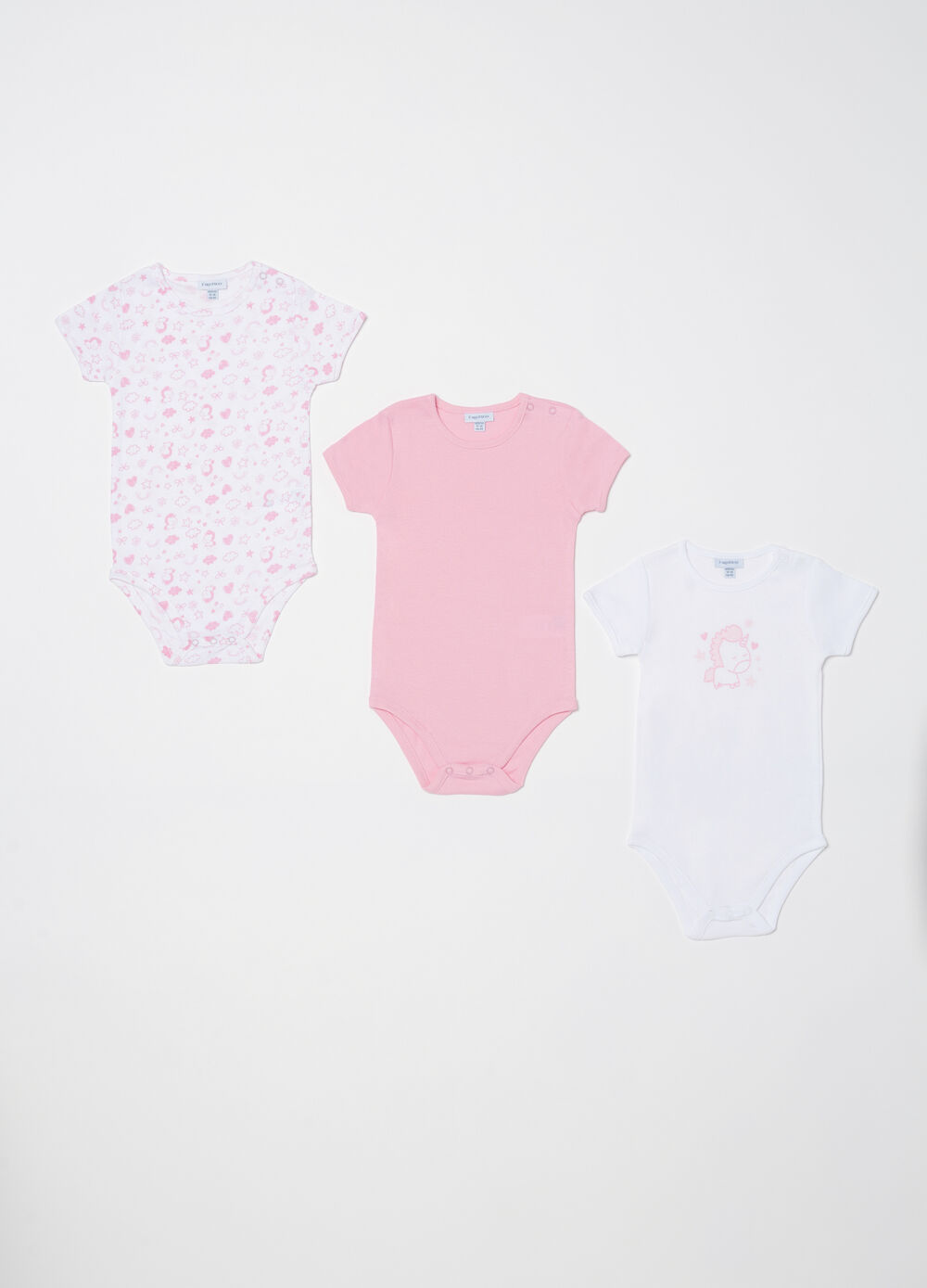 Three-pack bodysuits in 100% cotton with short sleeves