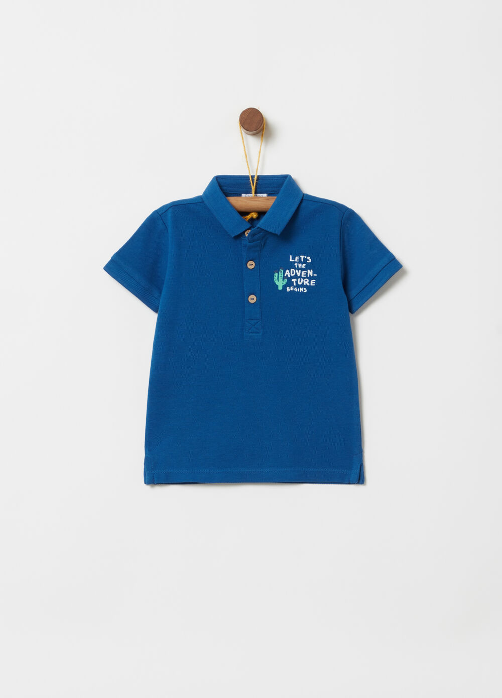 Polo shirt with ribbed print and collar