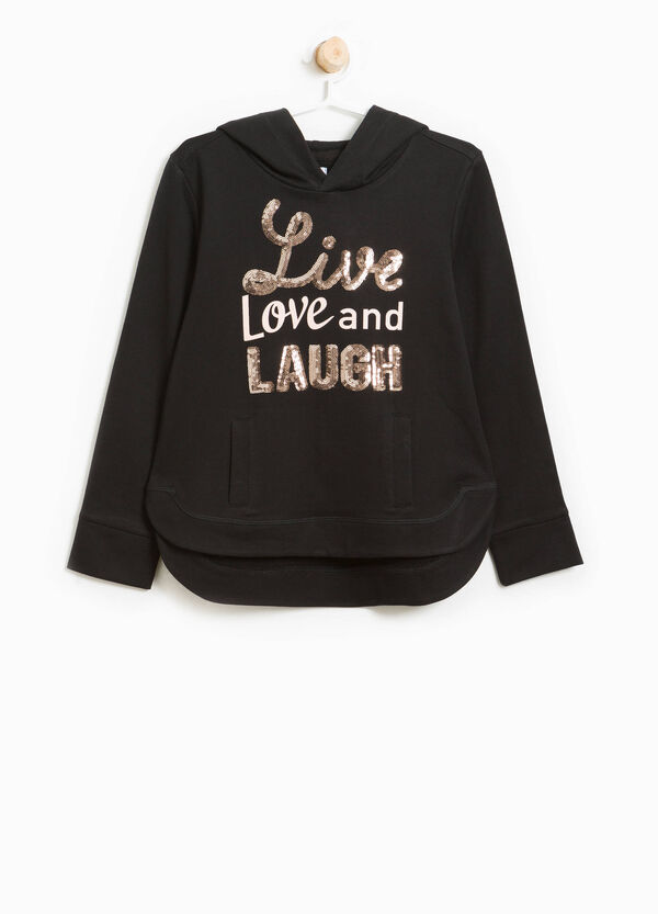 Cotton sweatshirt with printed lettering and sequins   OVS