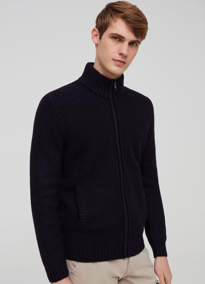 Full-zip cardigan with high neck image number null