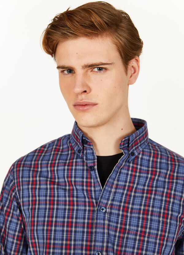 Cotton blend casual tartan shirt