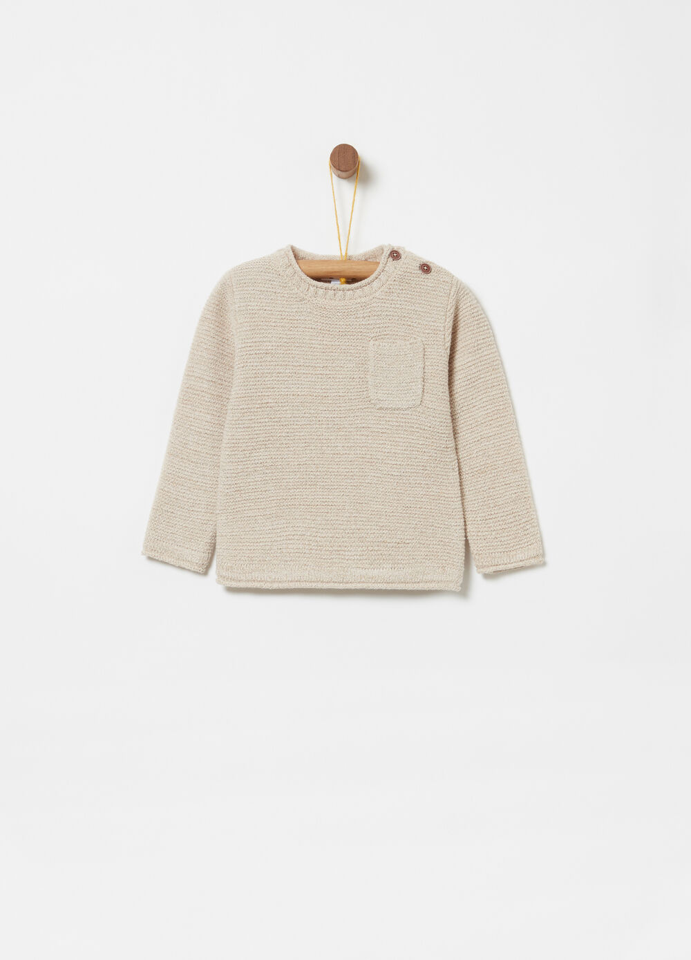 Knitted pullover with pocket