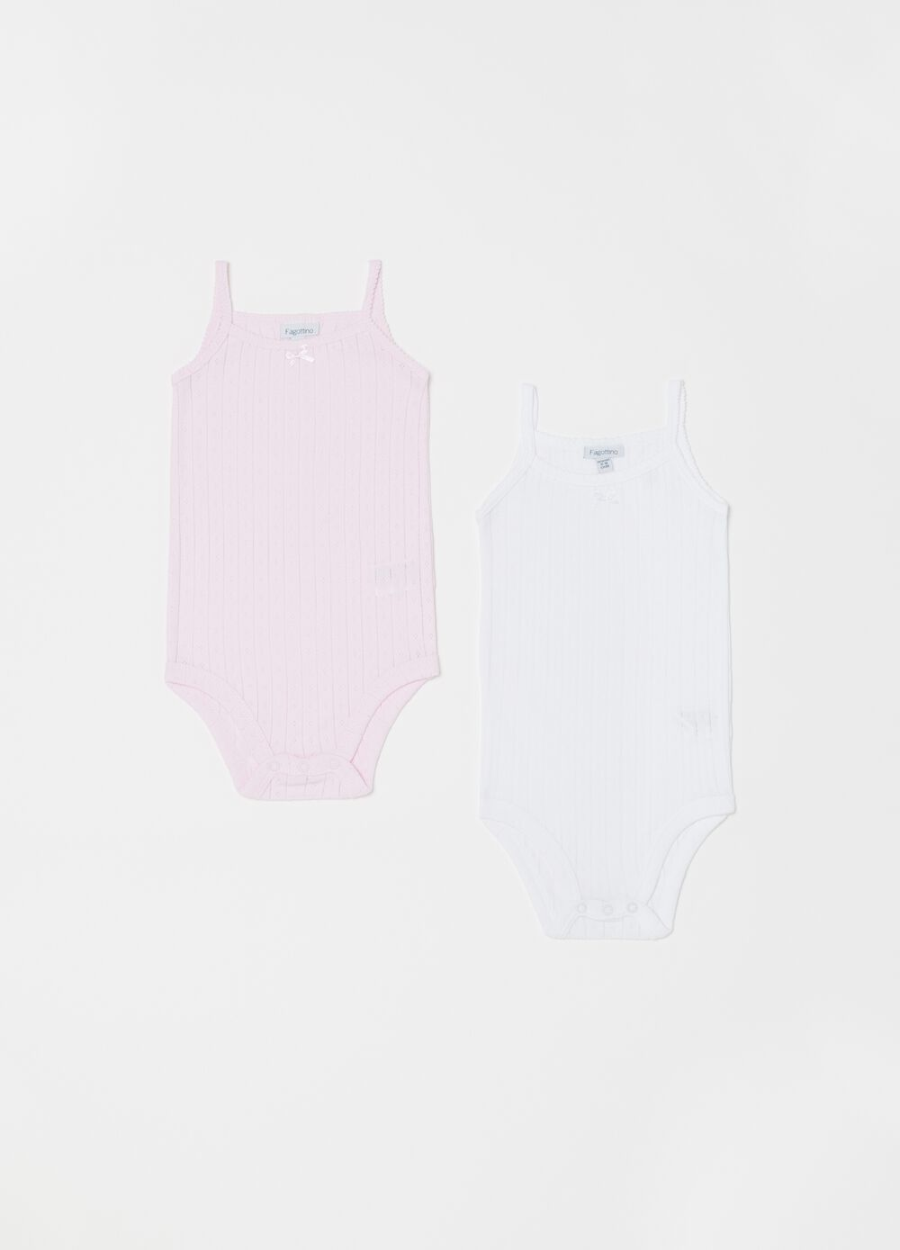 Two-pack bodysuits in cotton jacquard
