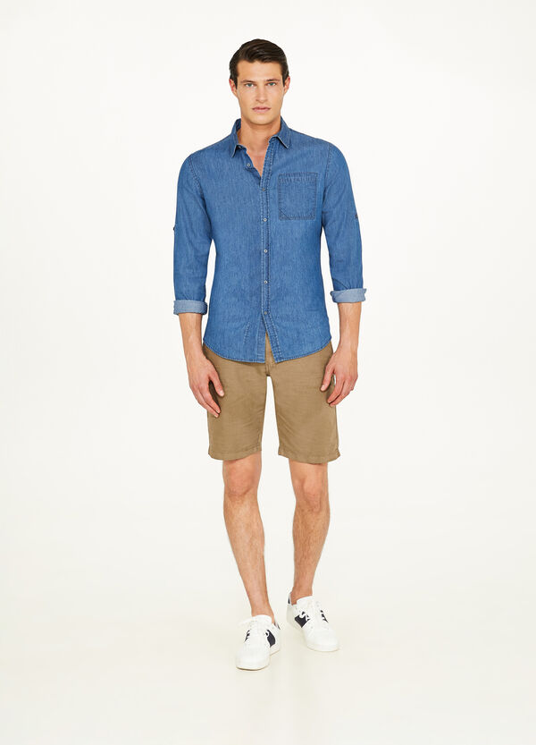Cotton and linen chino Bermuda shorts