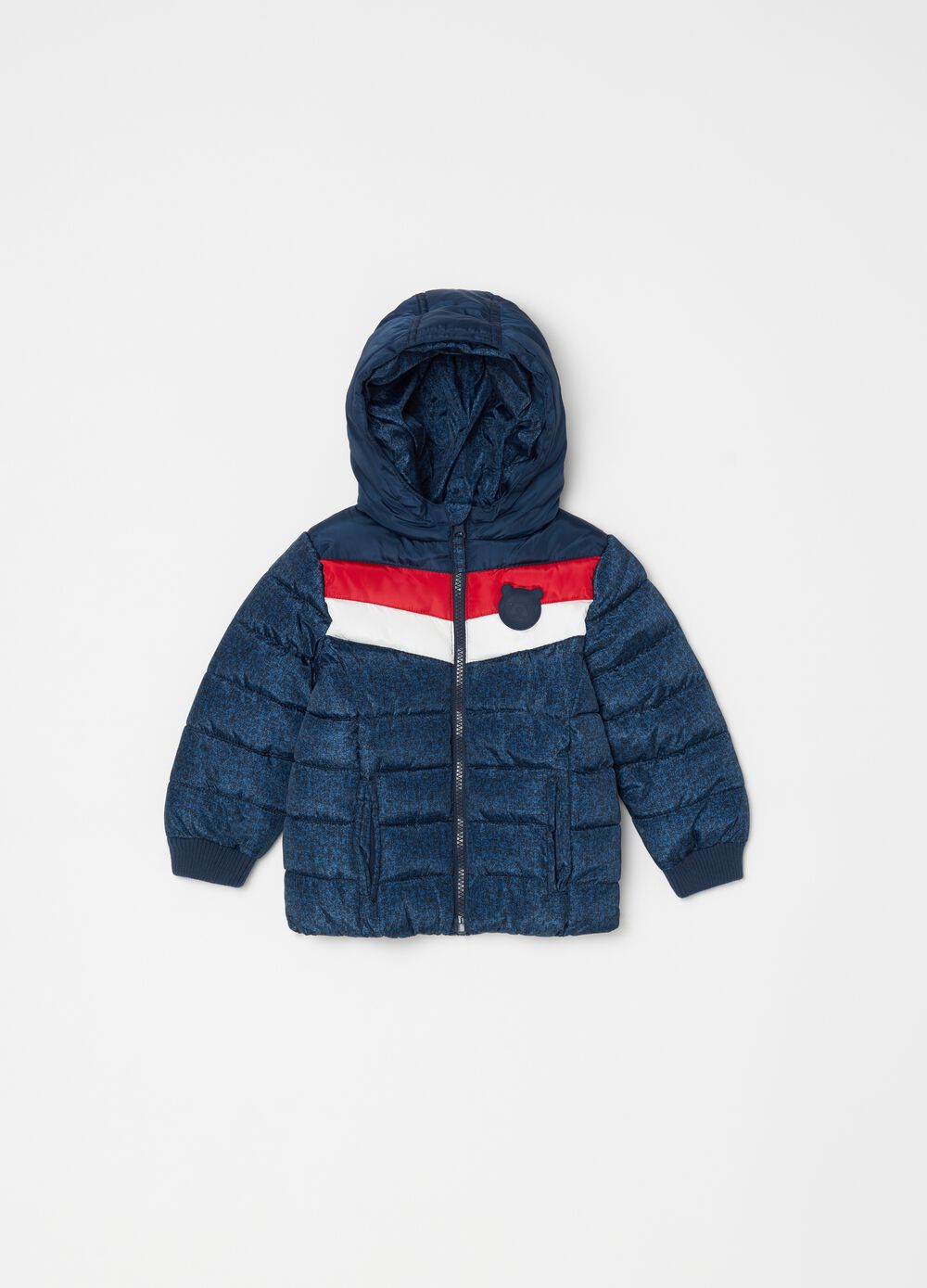 Two-tone padded and quilted jacket
