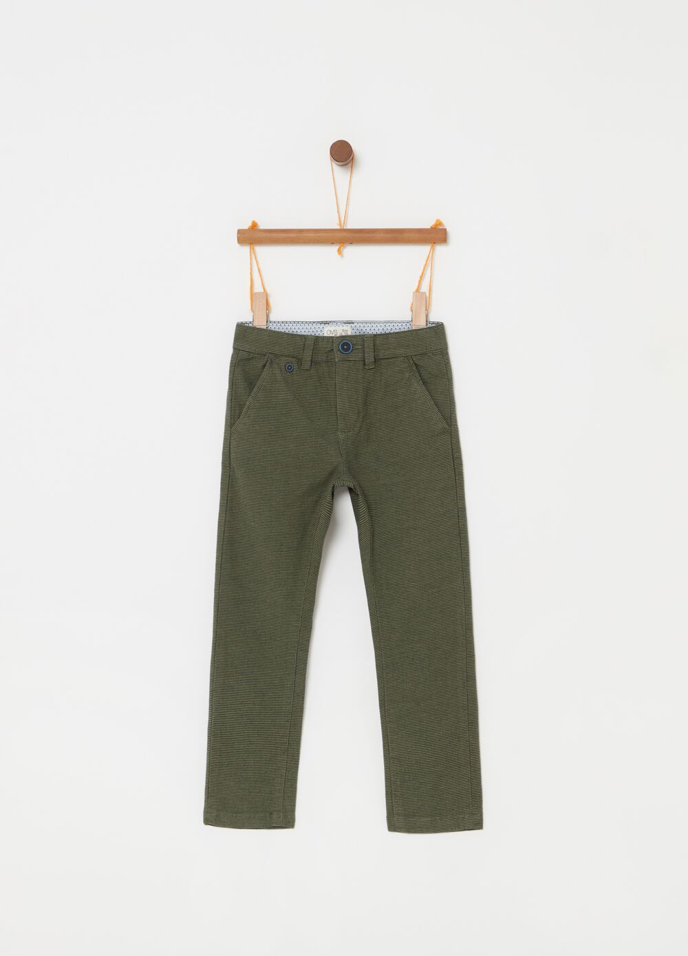 Chino trousers with micro pattern