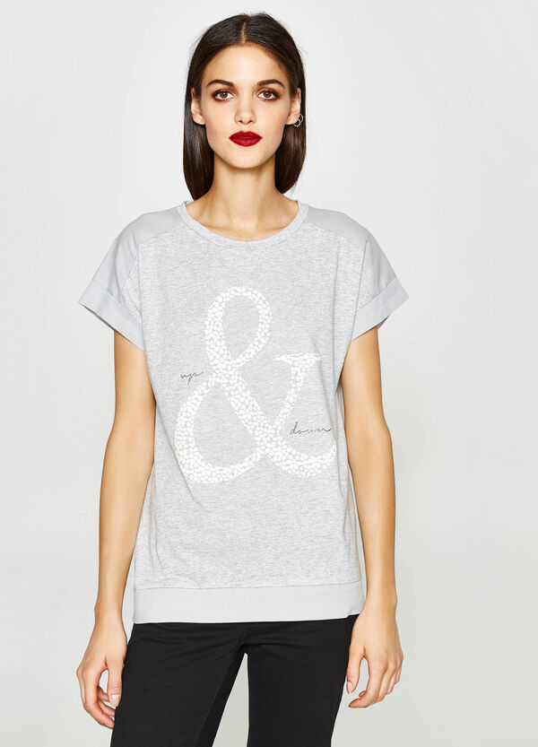 T-shirt mélange con stampa lettering   OVS