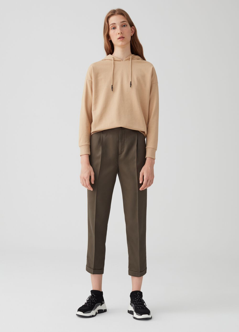 Crop chino trousers in 100% lyocell