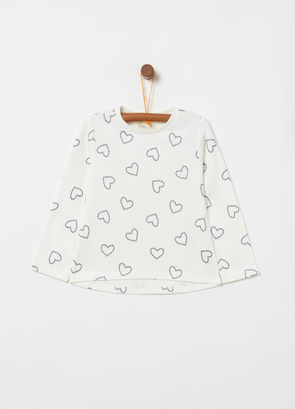 100% cotton T-shirt with glitter heart print