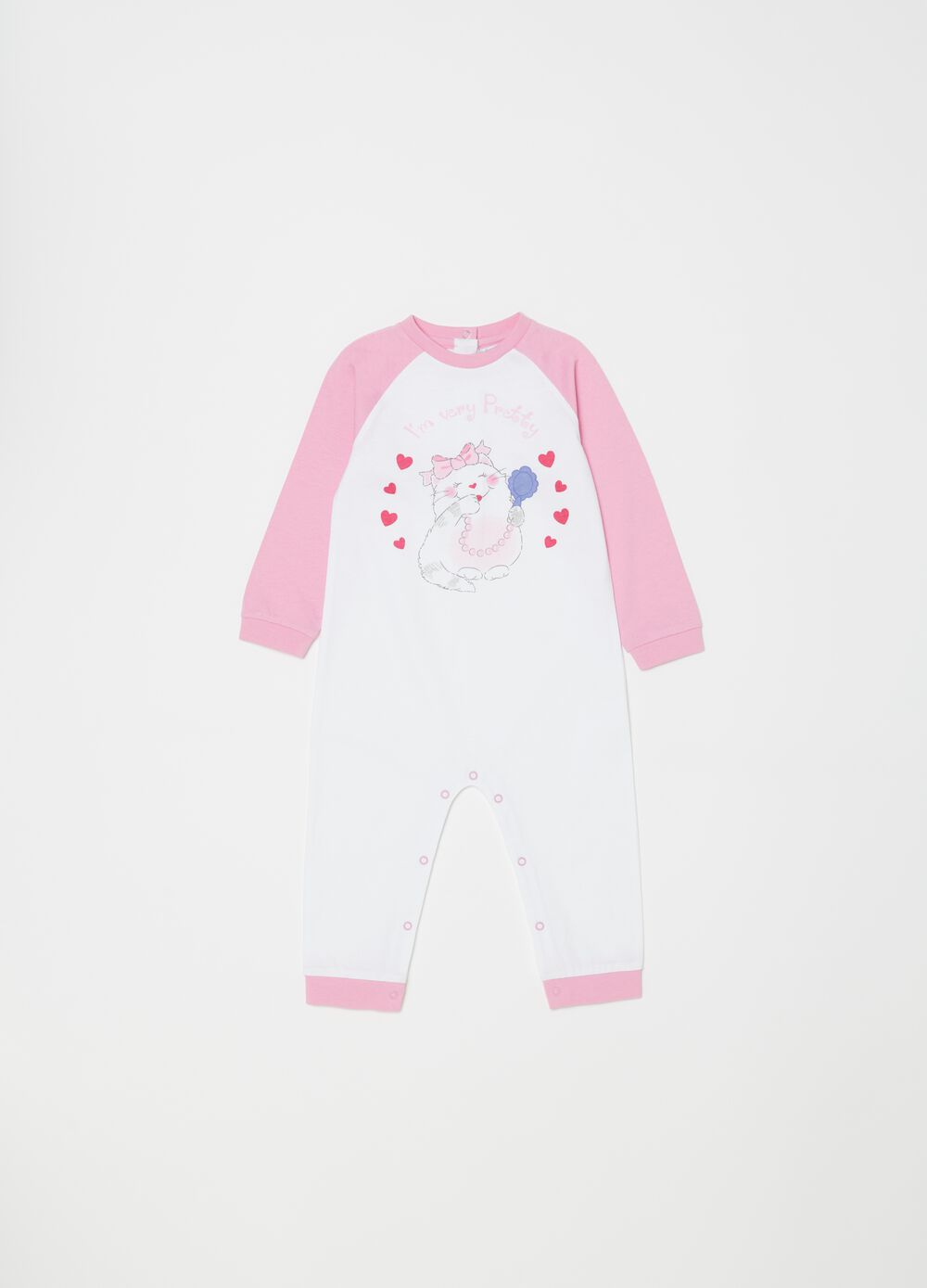 Biocotton sleepsuit with kitten print