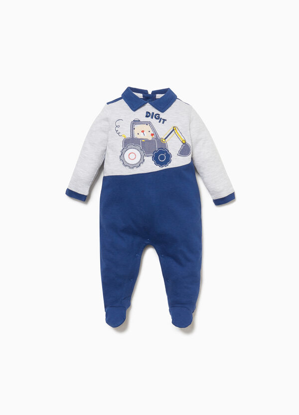 100% cotton onesie with digger patch