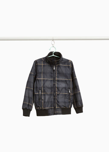 Bomber jacket with all-over tartan print