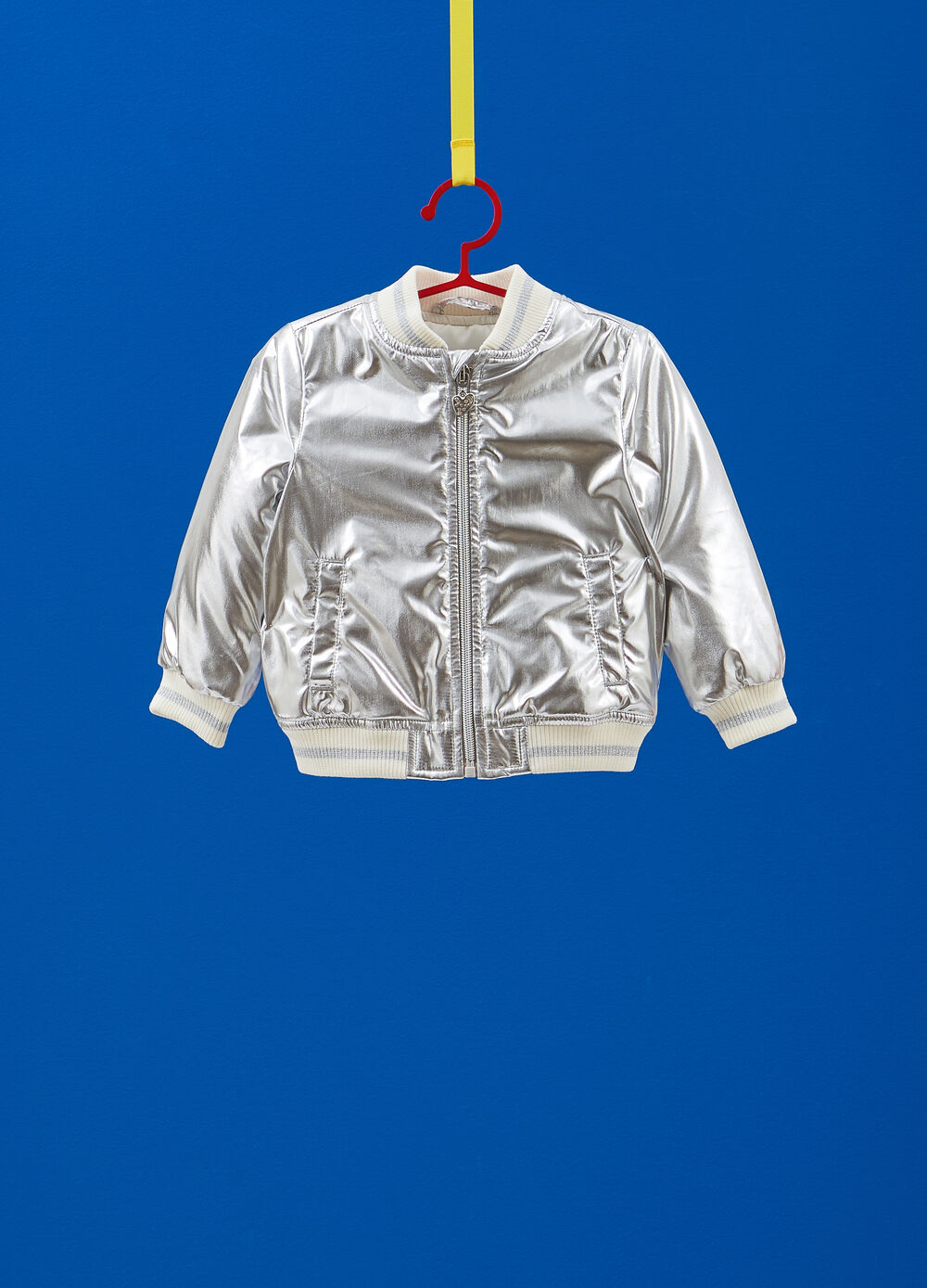 Shiny bomber jacket with glitter ribbing
