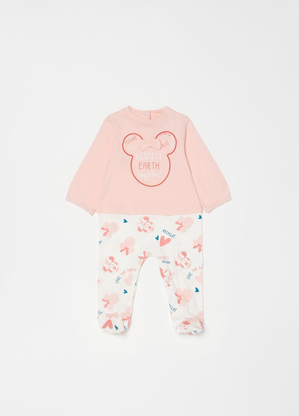 Minnie Mouse 100% organic cotton onesie with feet