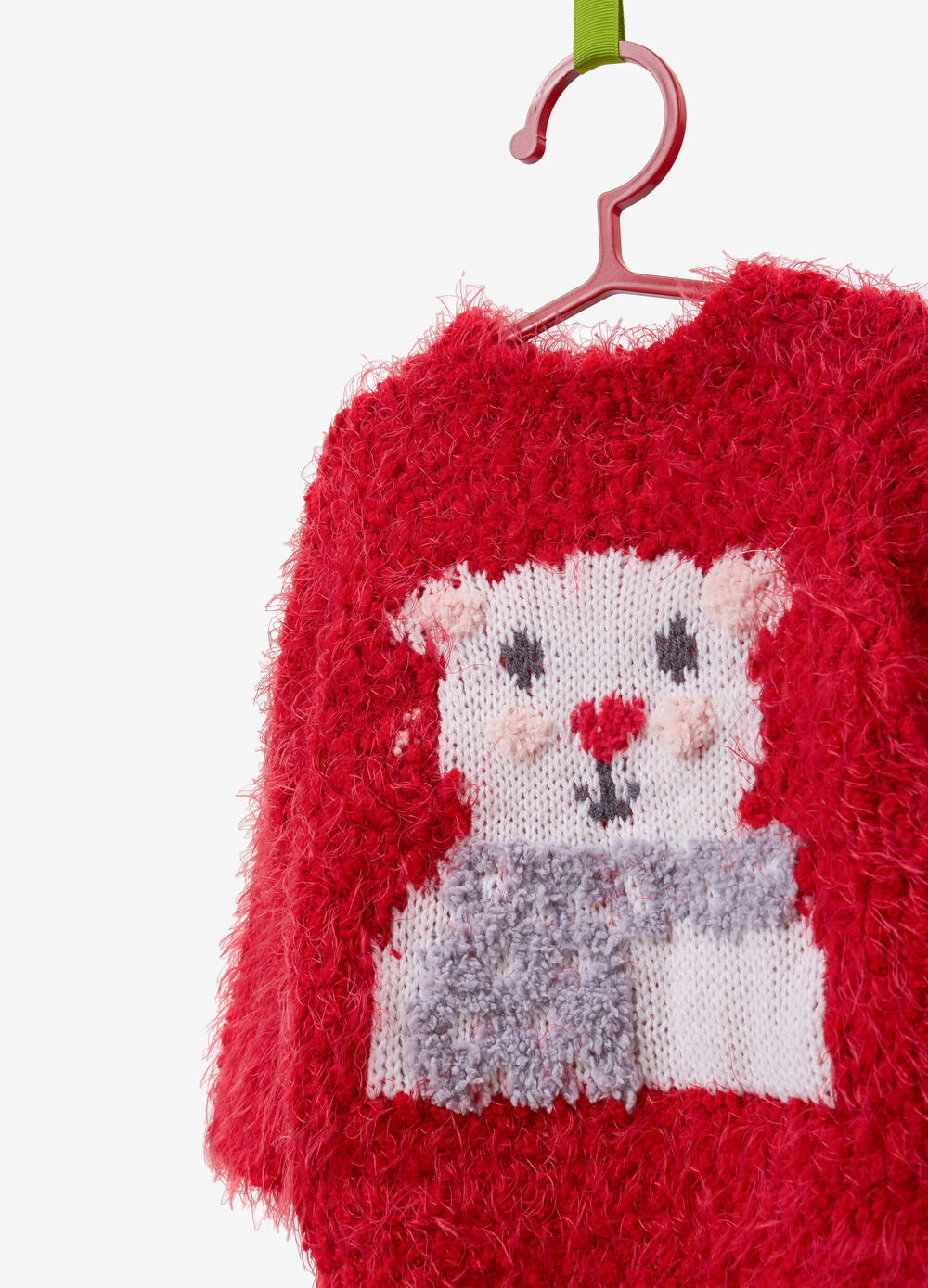 Knitted frayed pullover with embroidery