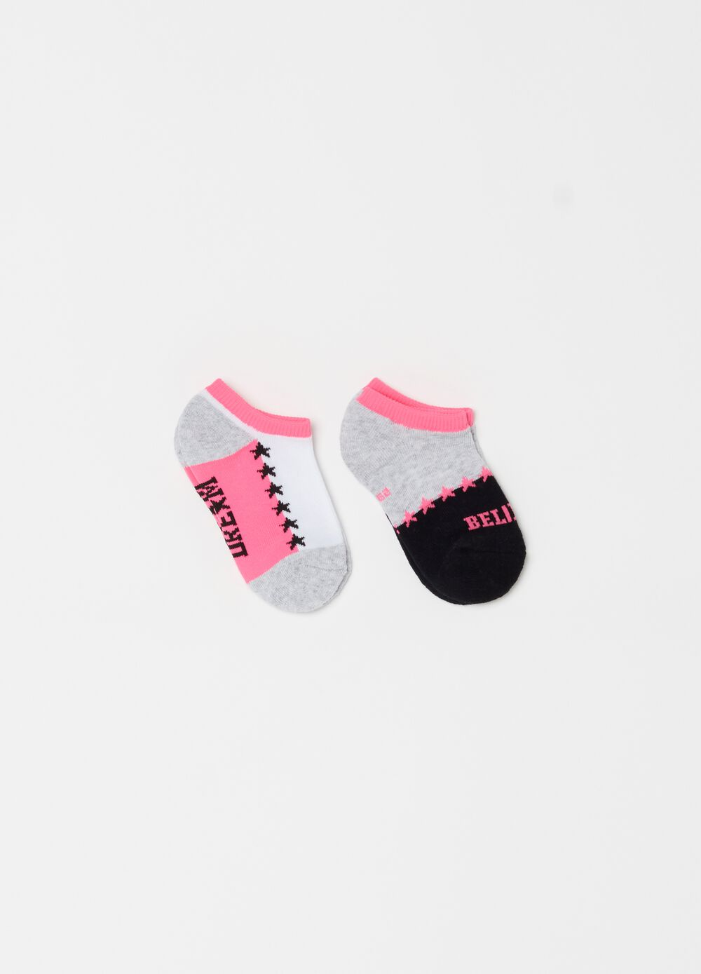 Two-pair short socks with print