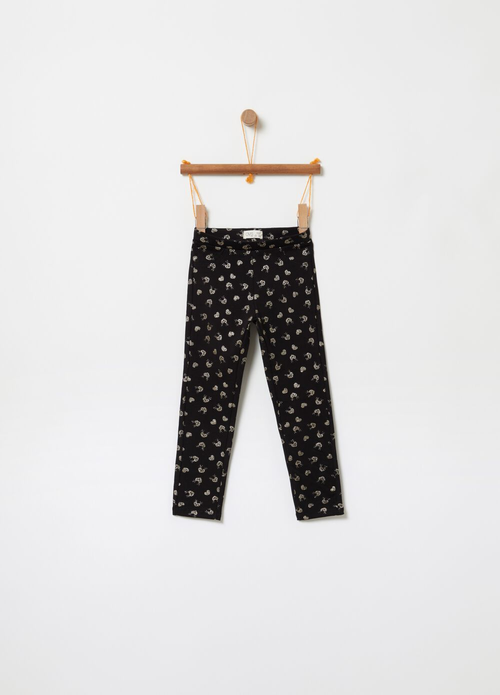 Treggings with all-over glitter print