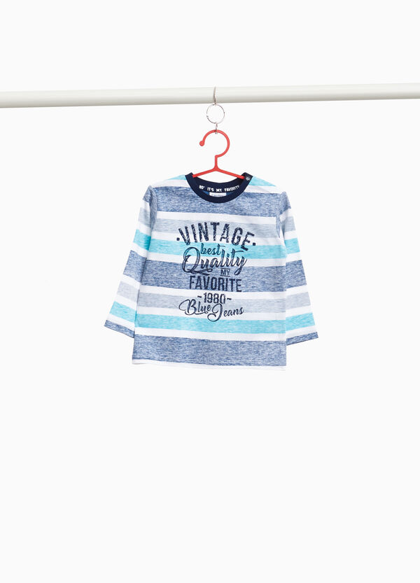 T-shirt in 100% cotton with striped print
