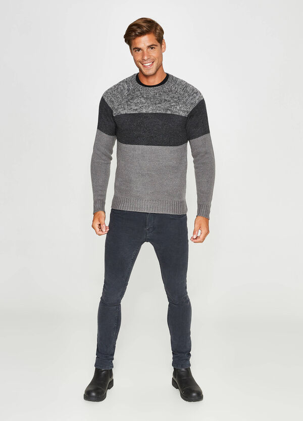 Crewneck pullover with contrasting inserts | OVS